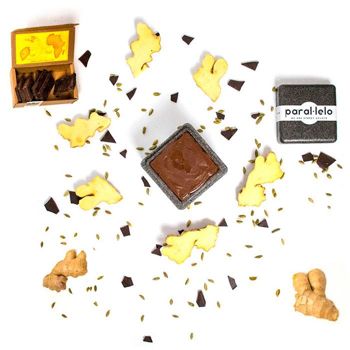 Sorbete de chocolate Corallo 100% con infusión de cardamomo bio y extracto en frío de jengibre